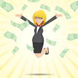 Cartoon happy businesswoman jumping with money cash Stock Photos