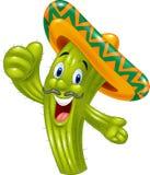 Cartoon Happy cactus giving thumb up vector illustration