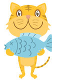 Happy cat with fish Royalty Free Stock Photography