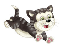 Cartoon happy cat is jumping and looking - artistic style - isolated Royalty Free Stock Photography