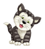 Cartoon happy cat is standing smiling and looking - artistic style -. Beautiful and colorful illustration for the children - for different usage royalty free illustration