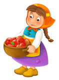 Cartoon happy character of farm woman holding basket full of apples - traditional clothes - isolated Stock Photos