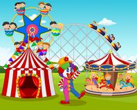 Cartoon happy children and clown in the amusement park. Illustration of Cartoon happy children and clown in the amusement park Stock Image