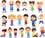 Cartoon happy children collection set stock illustration