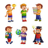 Cartoon happy children set. Standing school boys vector illustration, elementary school pupils isolated on white Royalty Free Stock Photography