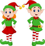 Cartoon of a happy Christmas elf couple Stock Images