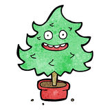 cartoon happy christmas tree Royalty Free Stock Images