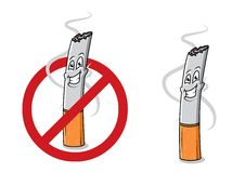 Cartoon happy cigarette butt. With smoke and stop sign. For healthcare and antinicotine design Stock Image