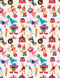 Cartoon happy circus seamless pattern Stock Image