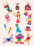 Cartoon happy circus show icons collection Stock Photography