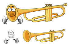 Cartoon happy classic brass trumpet character Royalty Free Stock Photos