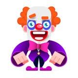 Cartoon Happy Clown Entertains Children Vector Illustration. On White Background stock illustration