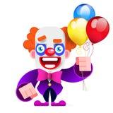 Cartoon Happy Clown Entertains Children Vector Illustration. On White Background vector illustration