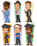 Cartoon happy college student character vector set. Cartoon happy college student and teacher character vector set Stock Images