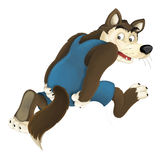 Cartoon happy and colorful wolf running away - isolated Royalty Free Stock Photos