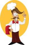 Cartoon happy cook finger pointing. Cartoon happy cook with mustache finger pointing Royalty Free Stock Photography