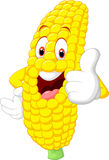 Cartoon happy corn giving thumb up Royalty Free Stock Photos
