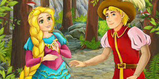 Cartoon happy couple talking in the forest Stock Image