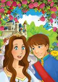 Cartoon happy couple talking in the garden full of roses royalty free stock photography