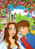 Cartoon happy couple talking in the garden full of roses Royalty Free Stock Image