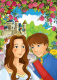Cartoon happy couple talking in the garden full of roses Stock Image