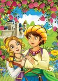 Cartoon happy couple talking in the garden full of roses Royalty Free Stock Images