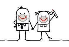Free Cartoon Happy Couple Wearing Hand-made Protection Masks With Big Smiles Stock Photos - 180291703