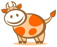 Cartoon happy cow. Cartoon cheerful happy cow isolated on a white background. Zodiac sign royalty free illustration