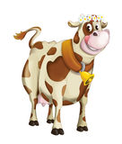 Cartoon happy cow with flower circlet - isolated Royalty Free Stock Photos