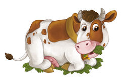 Cartoon happy cow is lying down resting looking and eating grass - artistic style - isolated background. Happy and funny traditional scene for different usage royalty free illustration