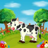 Cartoon happy cow smile in the farm. Illustration of Cartoon happy cow smile in the farm stock illustration