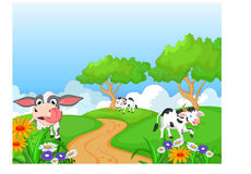 Cartoon happy cow smile in the farm Royalty Free Stock Images