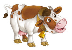 Cartoon happy cow is standing and looking down - artistic style - isolated - illustration for children Stock Image