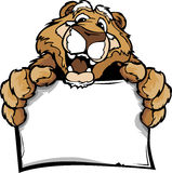 Cartoon of a Happy Cute Cougar Mascot Holding Sign Stock Image