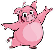 Cartoon happy cute pink pig character presenting Stock Photography