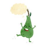 cartoon happy dancing pear with thought bubble Royalty Free Stock Images