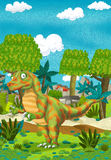 Cartoon happy dinosaur Stock Images