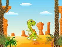 Cartoon Happy dinosaur with the desert background Royalty Free Stock Image