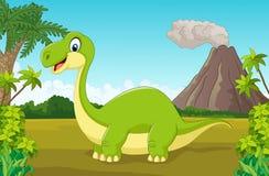 Cartoon happy dinosaur in the jungle Stock Image
