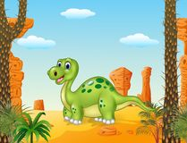 Cartoon happy dinosaur with prehistoric background Stock Photo