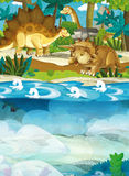 Cartoon happy dinosaur - triceratops diplodocus turtle and other underwater dinosaurs Stock Images