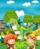 Cartoon happy dinosaur - tyrannosaurus - happy pair of people Stock Photos