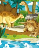 Cartoon happy dinosaurs - diplodocus stegosaurus triceratops volcano Stock Photos
