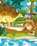 Cartoon happy dinosaurs - diplodocus stegosaurus triceratops volcano Royalty Free Stock Images
