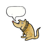 Cartoon happy dog in big collar with speech bubble Royalty Free Stock Image