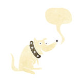 Cartoon happy dog in big collar with speech bubble Stock Photography