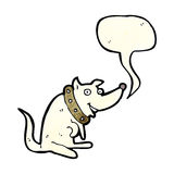 Cartoon happy dog in big collar with speech bubble Stock Images