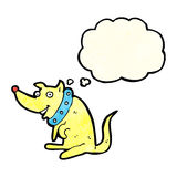 Cartoon happy dog in big collar with thought bubble Stock Images