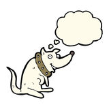 cartoon happy dog in big collar with thought bubble Royalty Free Stock Images