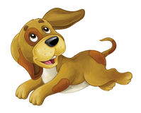 Cartoon happy dog is jumping and looking - artistic style - isolated royalty free illustration